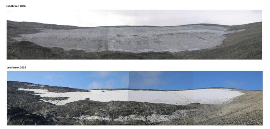 parche de hielo Lendbreen Noruega