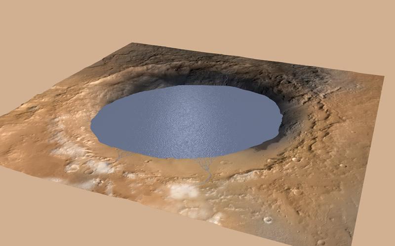 Cráter de Gale Marte agua Curiosity