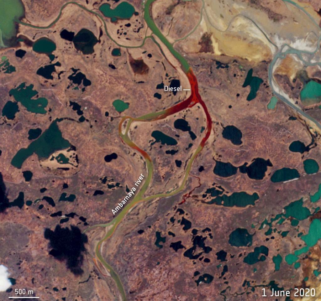 Ártico derramo río espacio Rusia